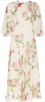 Giambattista Valli silk wide sleeve floral midi dress
