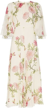 Giambattista Valli Silk Wide Sleeve Floral Midi Dress