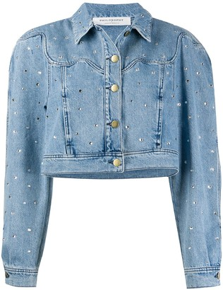Philosophy di Lorenzo Serafini Embellished Cropped Denim Jacket