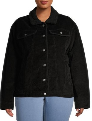 Time and Tru Women's Plus Size Faux Sherpa Lined Corduroy Jacket