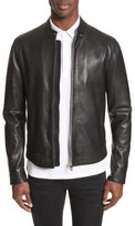 Versace Men's Band Collar Leather Jacket