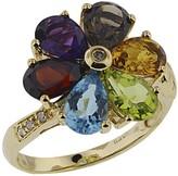Effy Jewelry Effy 14K Yellow Gold Multi Gemstone and Diamond Flower Ring, 4.84 TCW