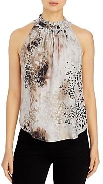 Go Silk Go by Ruffle Neck Printed Sleeveless Silk Top