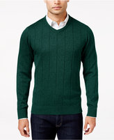 John Ashford Men's Big and Tall V-Neck Striped-Texture Sweater, Only At Macy's