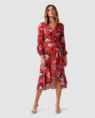 Forever New Serena Wrap Satin Midi Dress