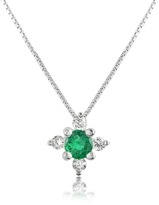 Tagliamonte Incanto Royale Diamond and Emerald Flower 18K Gold Pendant Necklace