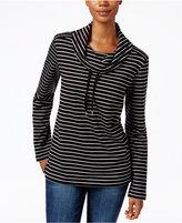 Karen Scott Striped Funnel-Neck Sweater, Only at Macy's