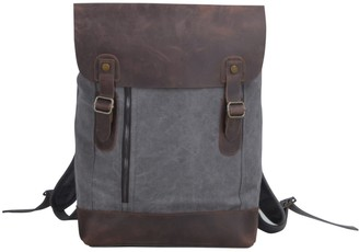 Touri Zip Detail Canvas Backpack With Leather Flap In Iron Grey