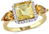Ice 1/7 CT Diamond TW and 3 CT TGW Citrine Yellow Silver Ring