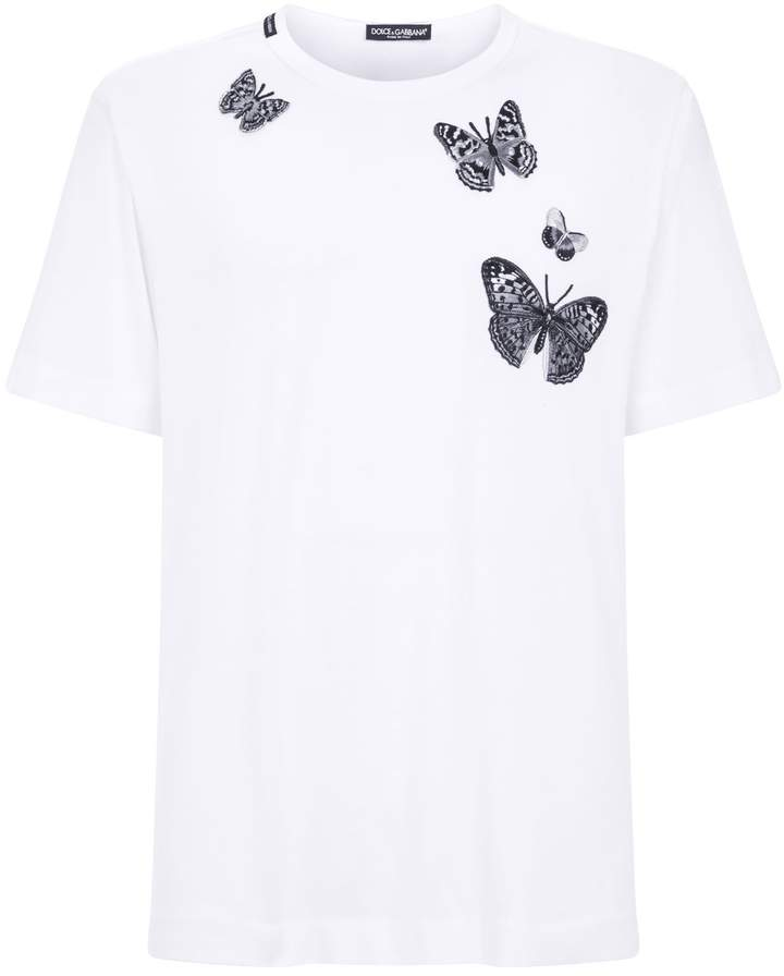 Dolce & Gabbana Embroidered Butterfly T-Shirt