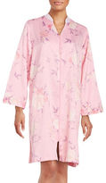 Miss Elaine Floral-Print Midi Satin Robe