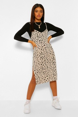 boohoo Smudge Print Jersey Slip Midi Dress