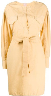 Nude Belted Shirt Dress