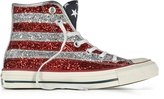 Converse Limited Edition Chuck Taylor All Star Hi Silver and Red Glitter Sneakers