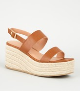 New Look Leather-Look 2 Strap Espadrille Wedges