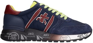 Premiata Lander Sneakers In Blue Suede And Fabric