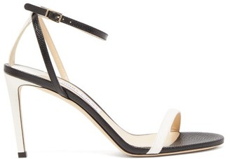 Jimmy Choo Minny 85 Lizard-embossed Leather Sandals - Womens - Black/white