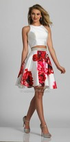 Dave and Johnny Two Piece Embellished Waist Floral Print Party Dress