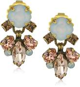 """Sorrelli Peony"""" Round and Navette Crystal Drop Earrings"""