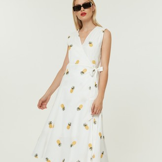 Jovonna London White Its A Wrap4 Dress Pineapple Print - extra small