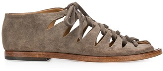 Alberto Fasciani Lace-Up Suede Gladiator Sandals