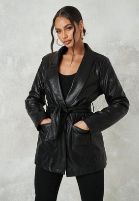 Missguided Black Borg Teddy Lined Oversized Belted Faux Leather Jacket