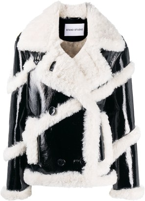 Stand Studio Faux Shearling Stripe Jacket