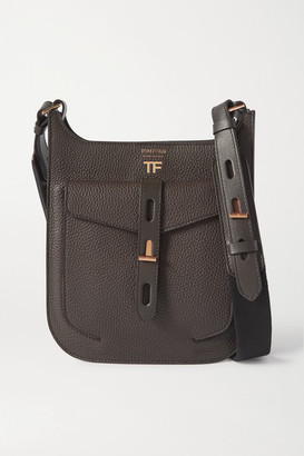 Tom Ford T Twist Small Textured-leather Shoulder Bag - Dark green