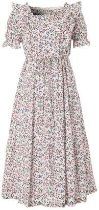 Doyi Park Ruffled Floral-Print Cotton Dress