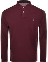 Ralph Lauren Long Sleeved Polo T Shirt Burgundy