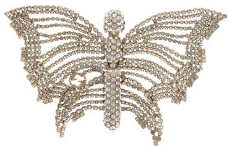 Gucci Butterfly Crystal-embellished Brooch - Silver
