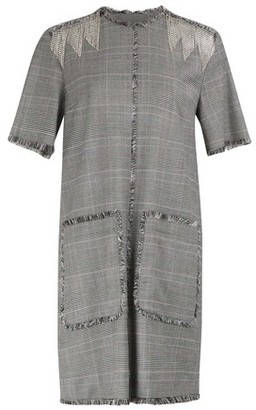 MSGM Plaid fringed dress