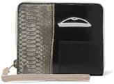 Rick Owens Medium paneled embroidered snake and leather wallet
