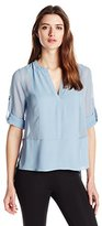 BCBGMAXAZRIA Women's Liberty Top with Placket and Rolled Sleeves