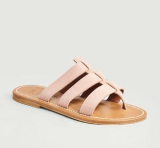 K Jacques St Tropez Nude Suede Leather Dolon Sandals - leather | nude | 36 - Nude