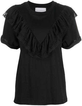 Philosophy di Lorenzo Serafini ruffle-trimmed cotton T-shirt