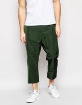 Asos Drop Crotch Cropped Pants In Khaki