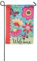 """Evergreen 18"""" x 12.5"""" Flowers """"Welcome"""" Indoor / Outdoor Garden Flag"""