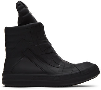 Rick Owens Black Rubber Geobasket High-Top Sneakers