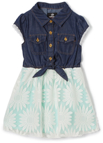Dollhouse Dark Blue & Teal Floral Denim Cap-Sleeve Dress - Toddler & Girls