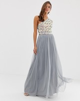Asos Design DESIGN embellished top one shoulder maxi dress