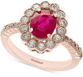 Effy Amoré by Certified Ruby (1-3/8 ct. t.w.) and Diamond (5/8 ct. t.w.) Statement Ring in 14k Rose Gold