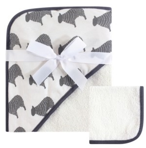 Hudson Baby Unisex Baby Hooded Towel and Washcloth, 2-Piece Set, One Size
