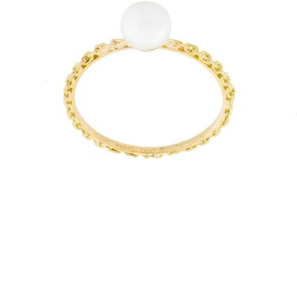 Wouters & Hendrix Gold 18kt Yellow Gold Pearl And Chain Ring