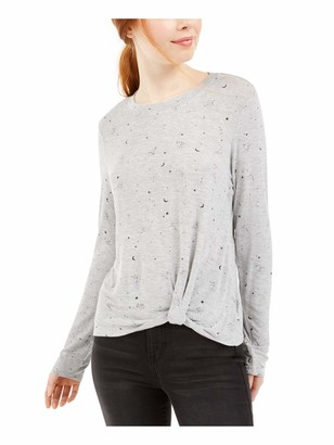 Belle Du Jour Womens Gray Printed Long Sleeve Jewel Neck T-Shirt Top Juniors UK Size:4