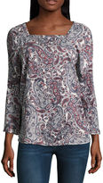 Liz Claiborne Bell Sleeve Square Neck Blouse