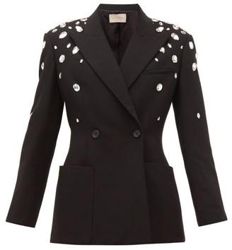 Christopher Kane Crystal Double-breasted Crepe Jacket - Womens - Black
