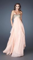 La Femme Layered Long Dress with Embellished Bodice 18774