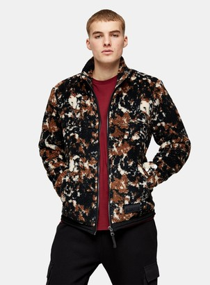 Topman Brown Camouflage Borg Jacket