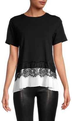 Laundry by Shelli Segal Lace Cotton-Blend Tee